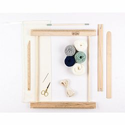 A Weaving Frame & Weaving Kit (14 Inch - Moss & Navy).  Everything you need to make your own woven wall hanging.