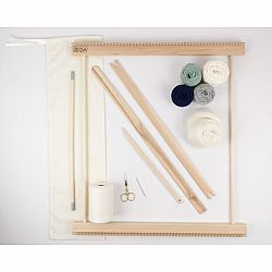 A Weaving Frame & Weaving Kit (20 Inch - Moss & Navy).  Everything you need to make your own woven wall hanging.
