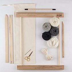 "A Weaving Frame & Weaving Kit (14"" - Gray).  Everything you need to make your own woven wall hanging."