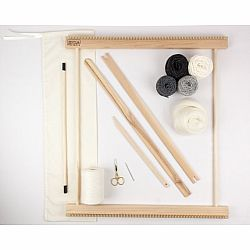 A Weaving Frame & Weaving Kit (20 Inch - Gray).  Everything you need to make your own woven wall hanging