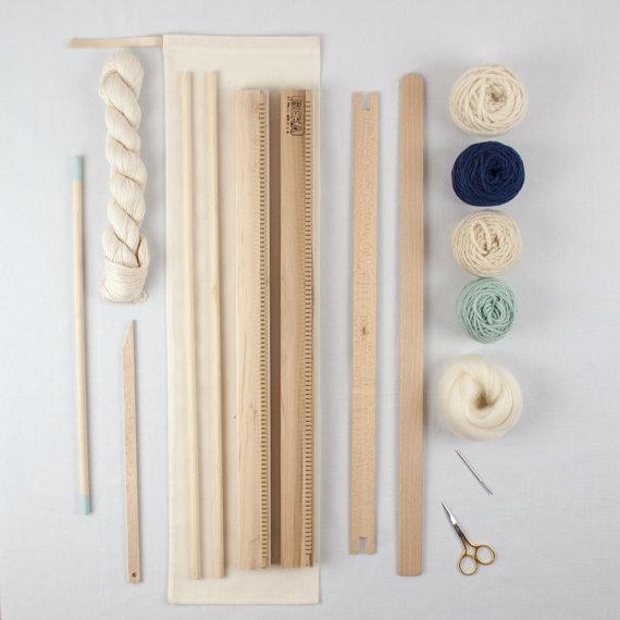 Wall Art Loom Kit : A weaving frame kit quot moss navy