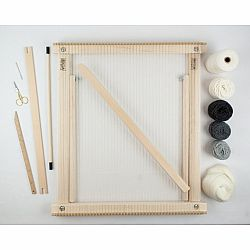 A Weaving Frame with Stand (20 Inch - Gray).  The Deluxe Kit / Everything You Need To Make Your Own Woven Wall Hanging.