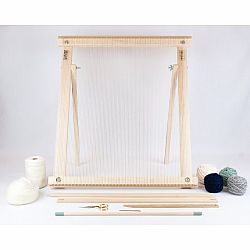 A Weaving Frame with Stand (20 Inch - Moss&Navy).  The Deluxe Kit / Everything You Need To Make Your Own Woven Wall Hanging.